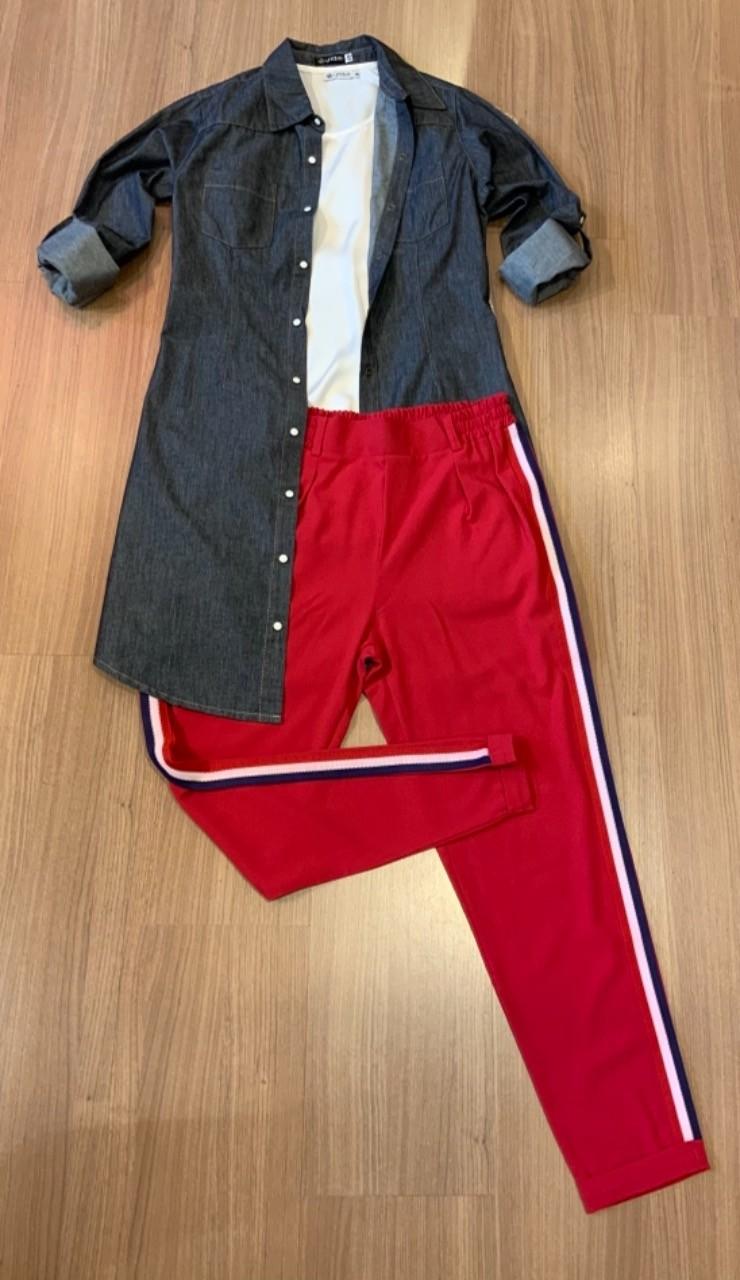 COMBO FÉRIAS | Calça jogger com listra + vestido chemisier