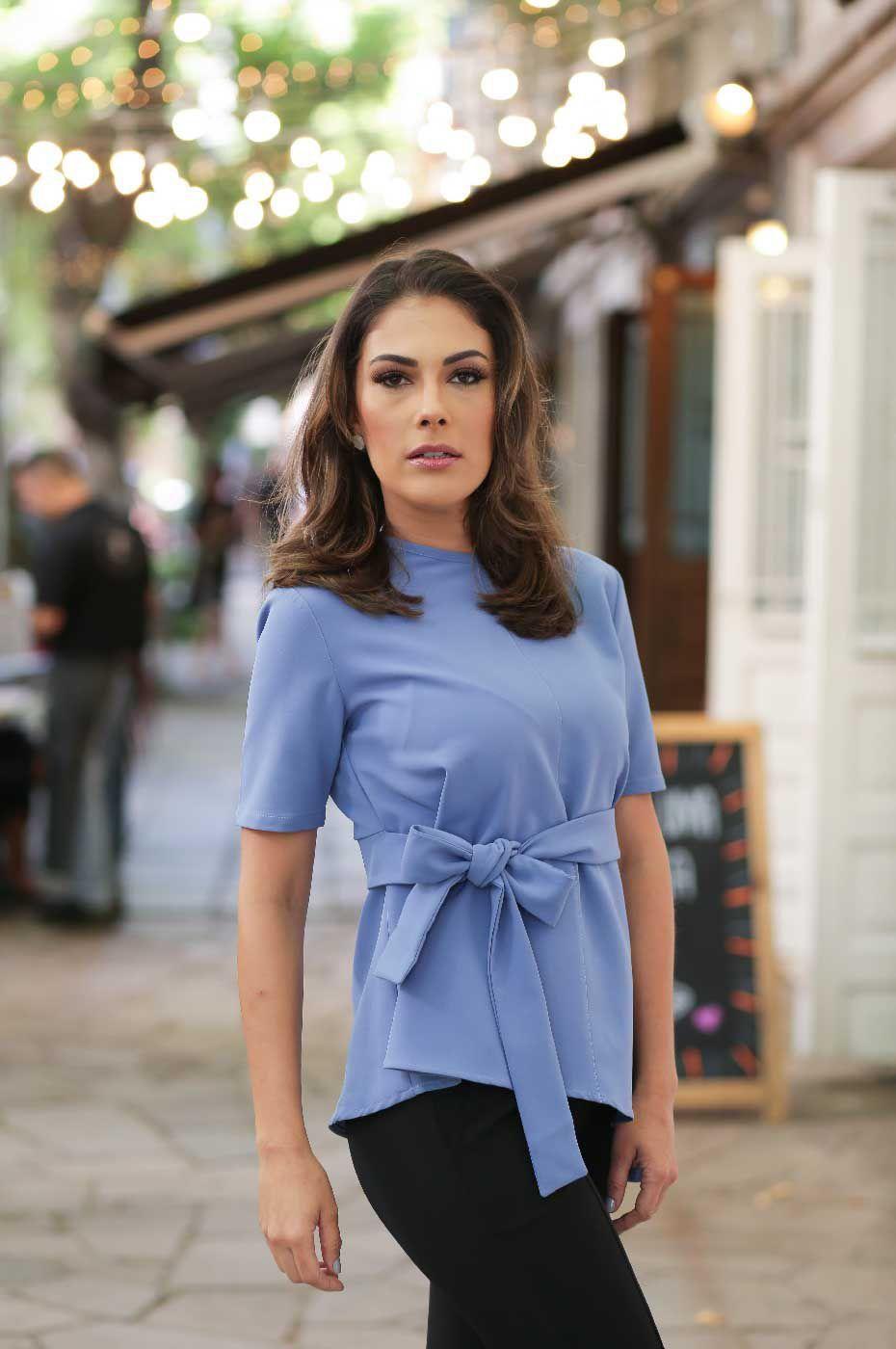 Blusa Social Laço Crepe Azul Jeans