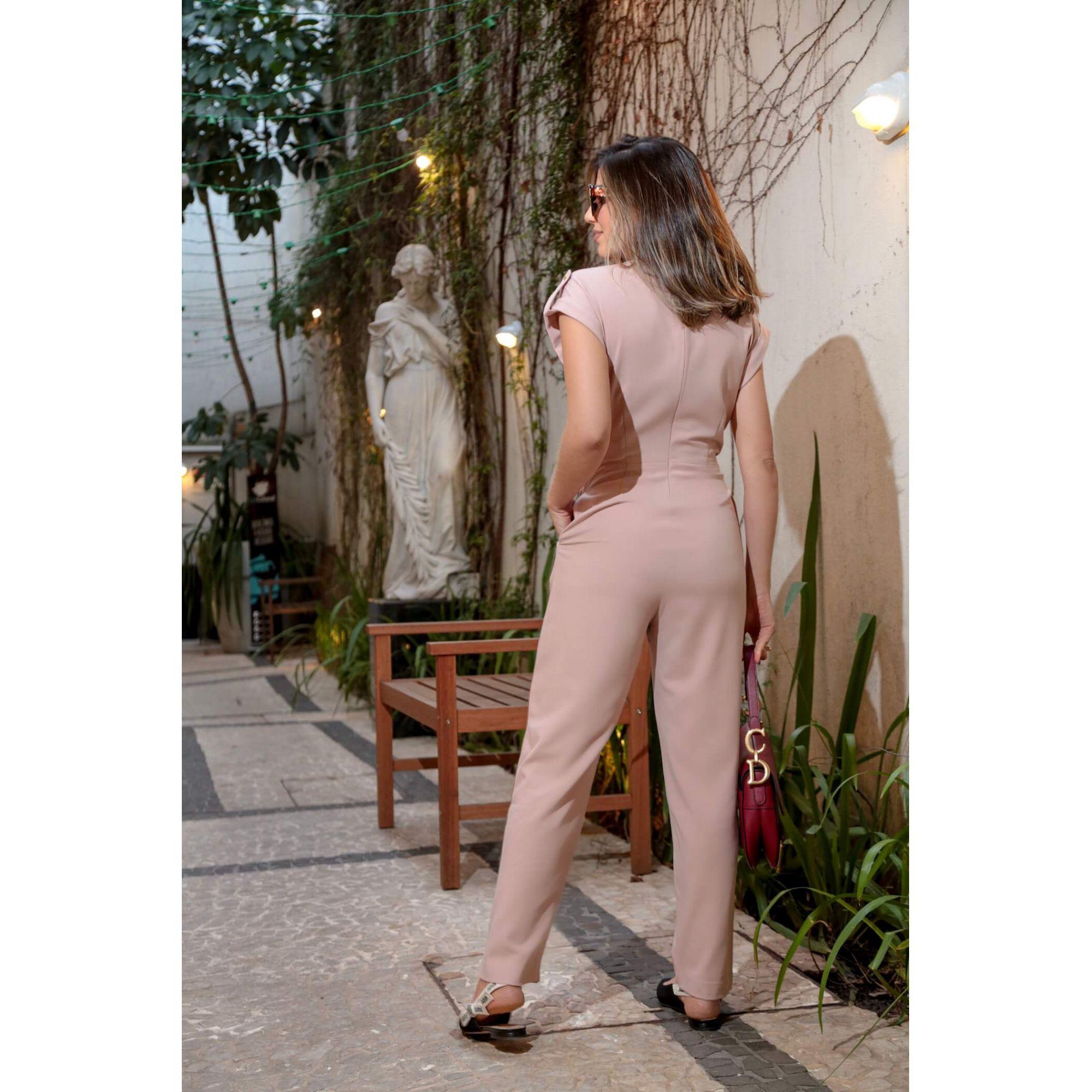 Macacão Longo Social Alfaiataria Feminina Com Amarração na Cintura Em Crepe Rosé