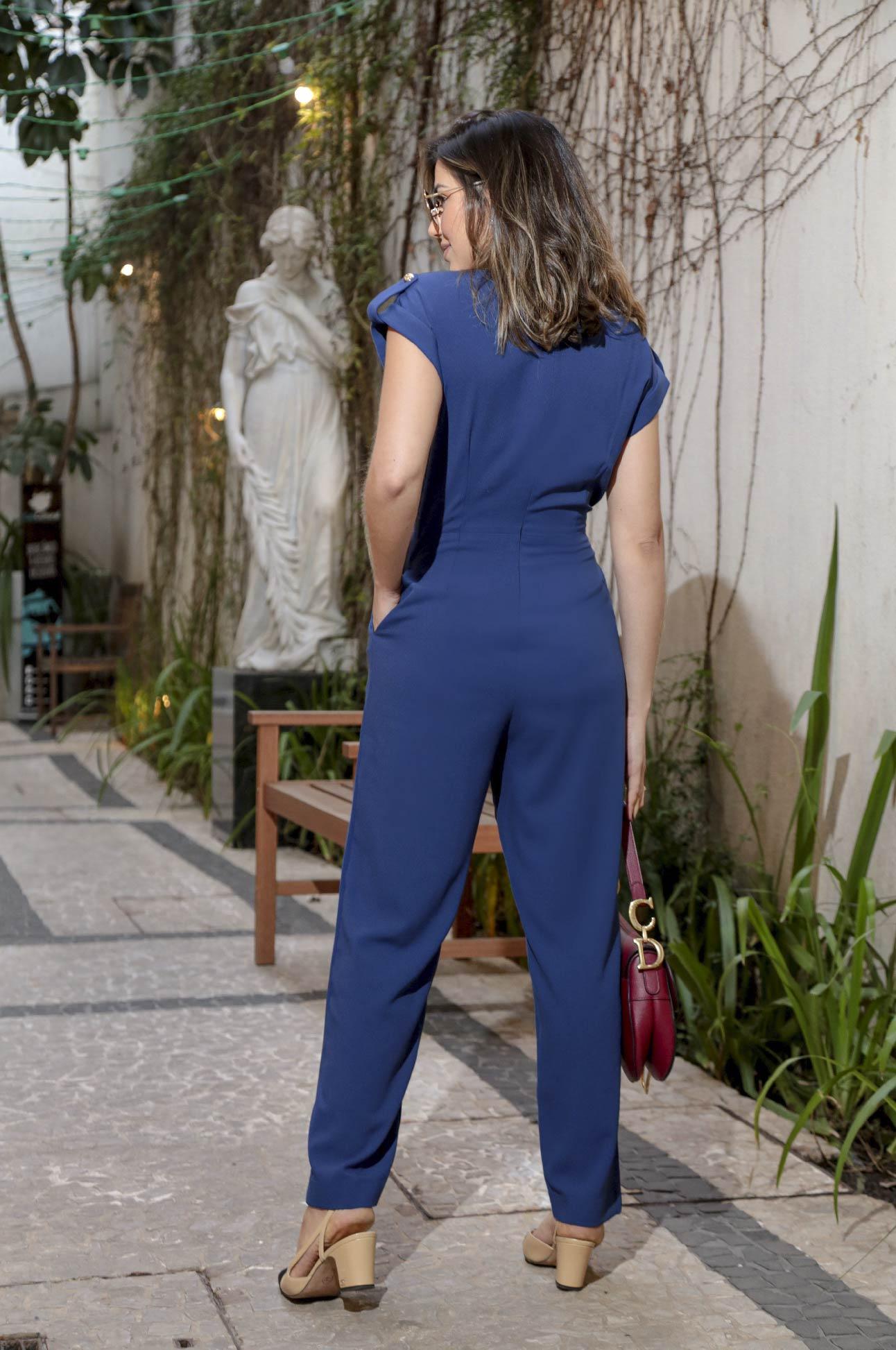 Macacão Longo Social Alfaiataria Feminina Azul Marinho