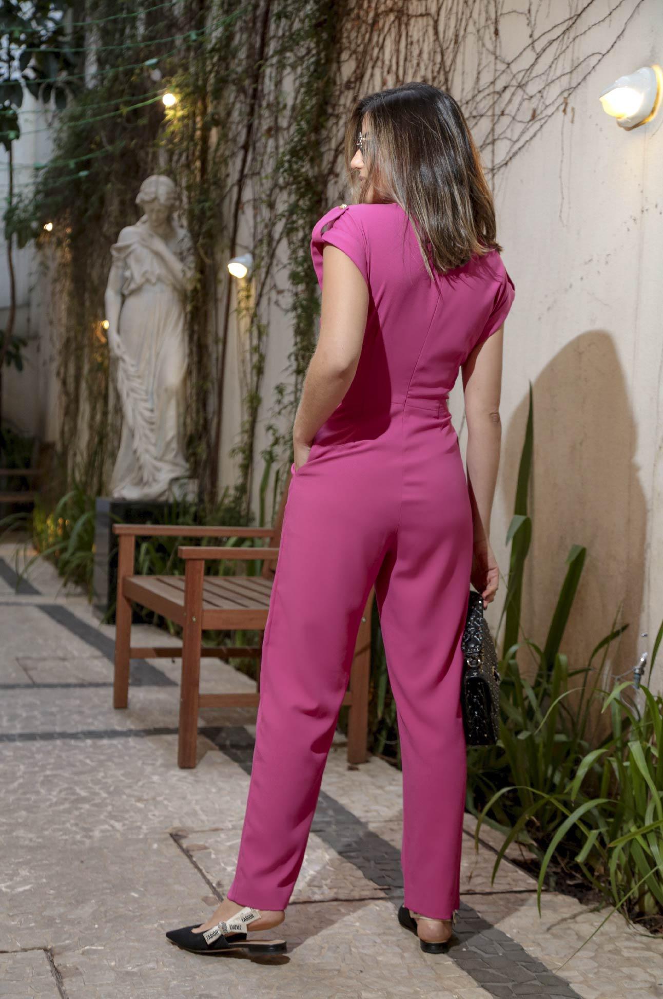 Macacão Longo Social Alfaiataria Feminina Rosa Pink