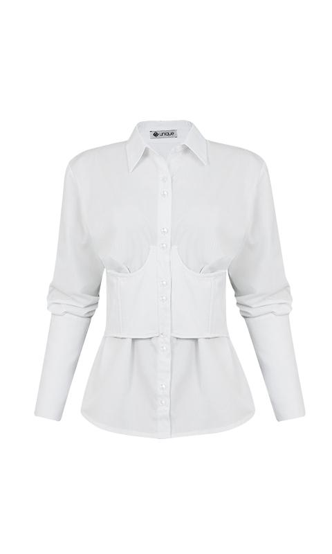 Número 10 - Camisa Corset Tricoline Branca
