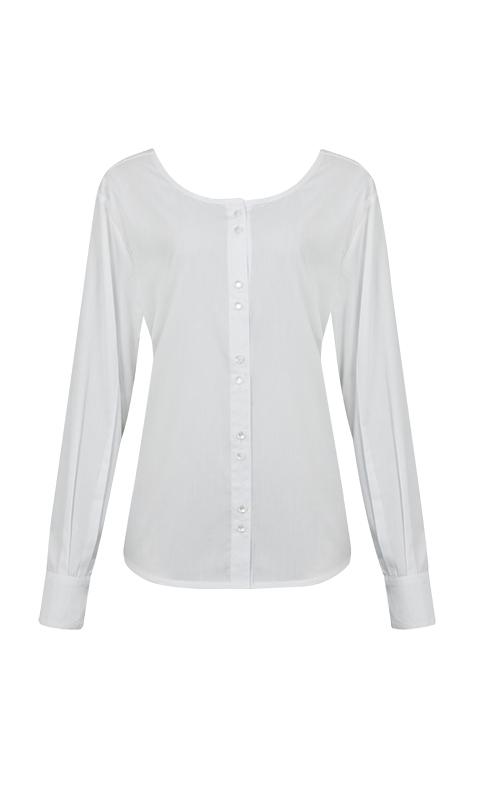 Número 25 - Camisa com Decote nas Costas Tricoline Branca