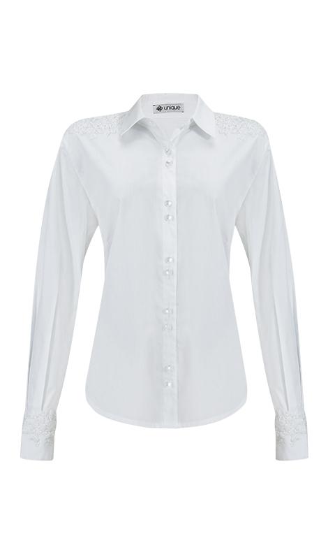 Número 3 - Camisa Social com Bordado Tricoline Branca