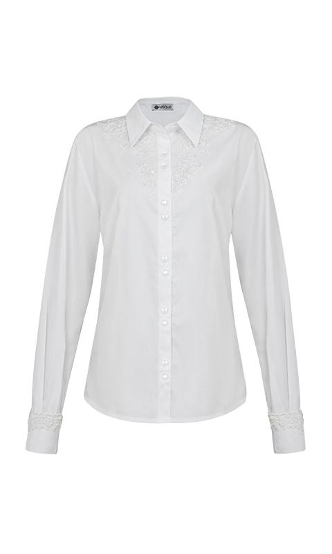 Número 4 - Camisa Social com Bordado no Decote Tricoline Branca