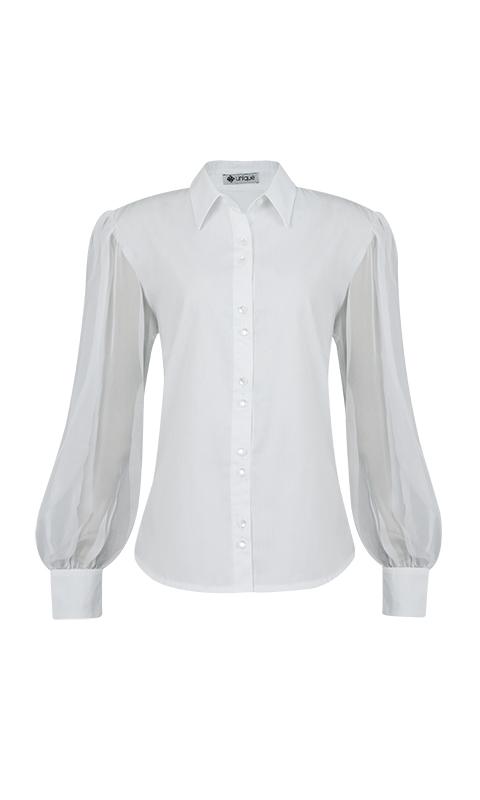 Número 7 - Camisa Social Tricoline Manga Bufante de Musseline Branca