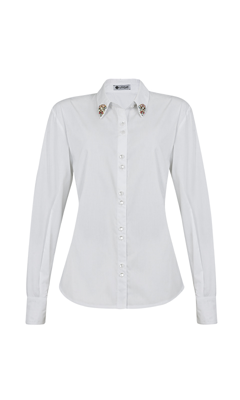 Número 9 - Camisa Social com Gola Bordada Tricoline Branca