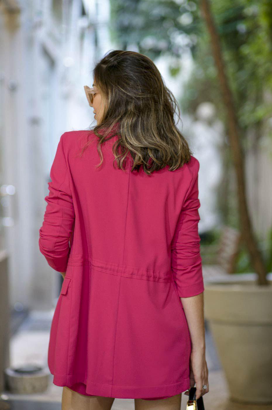 Blazer Parka Alongado Alfaiataria Feminina Rosa Pink