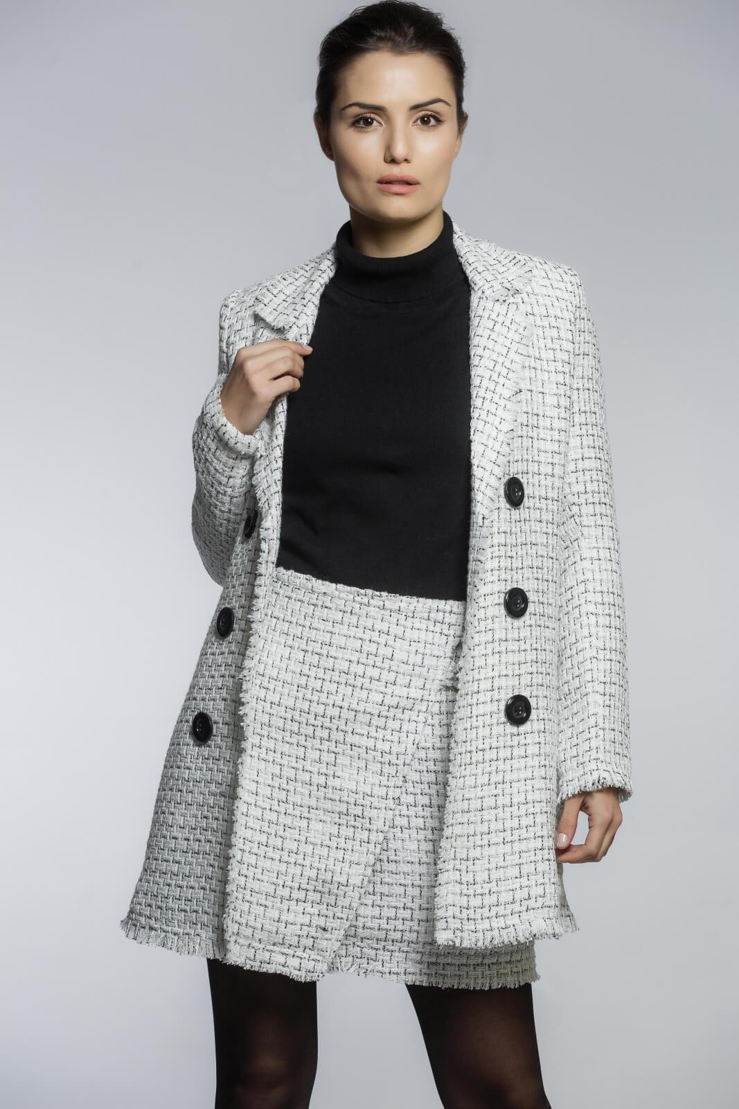 Saia Transpassada Tweed Branco e Preto