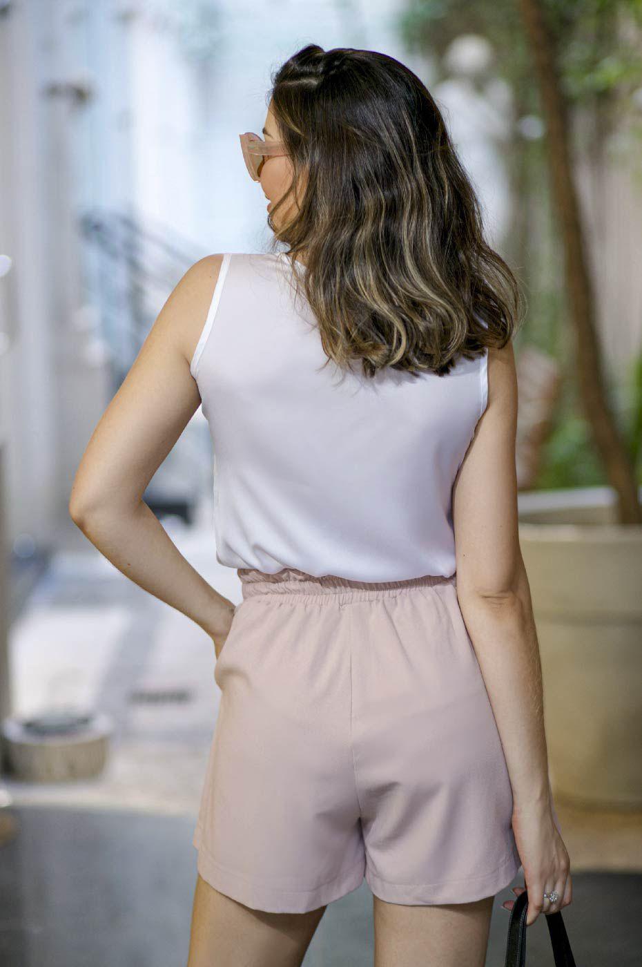 Short Clochard com amarração Alfaiataria Feminina Rosé