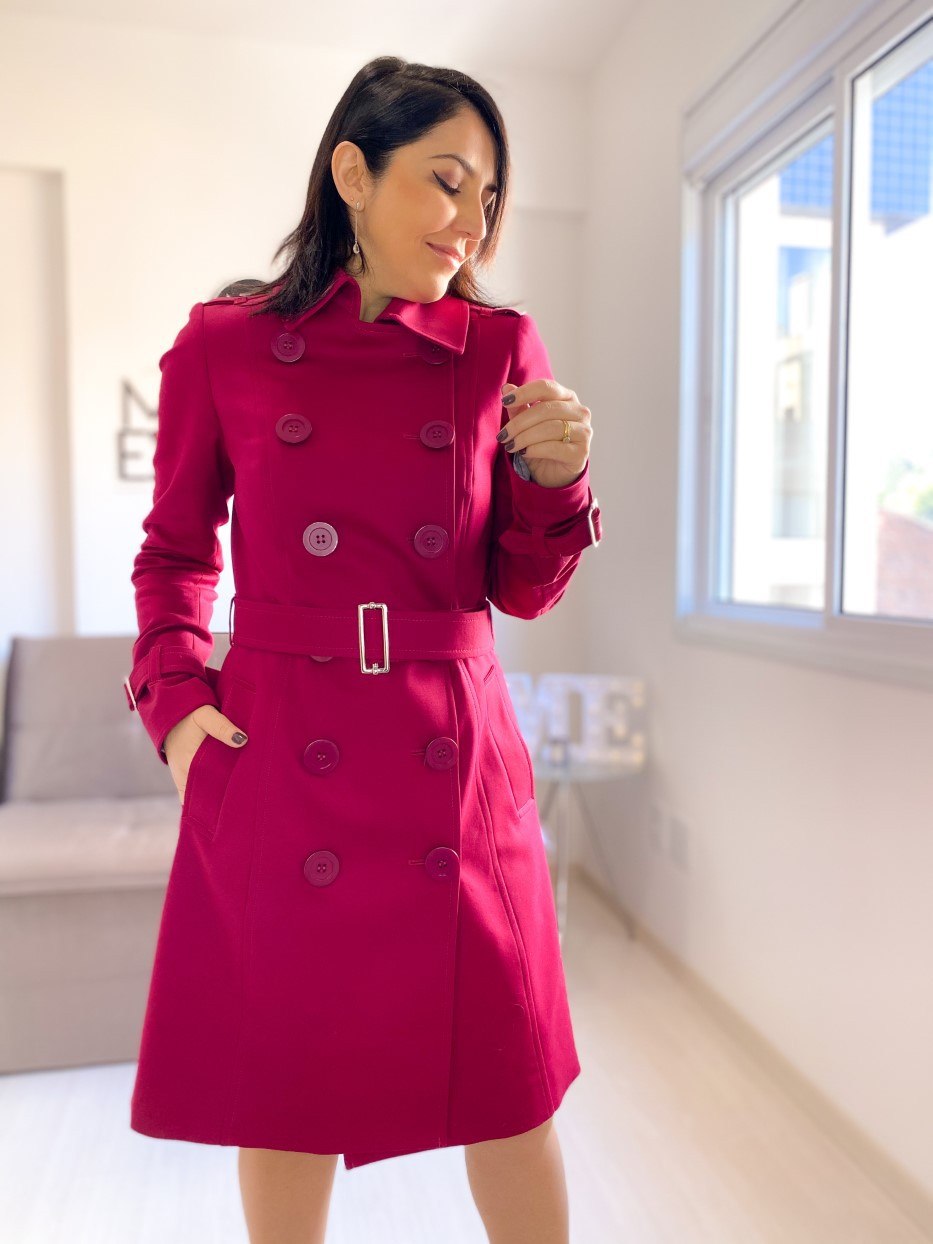 Trench Coat 7/8 Alfaiataria Cereja