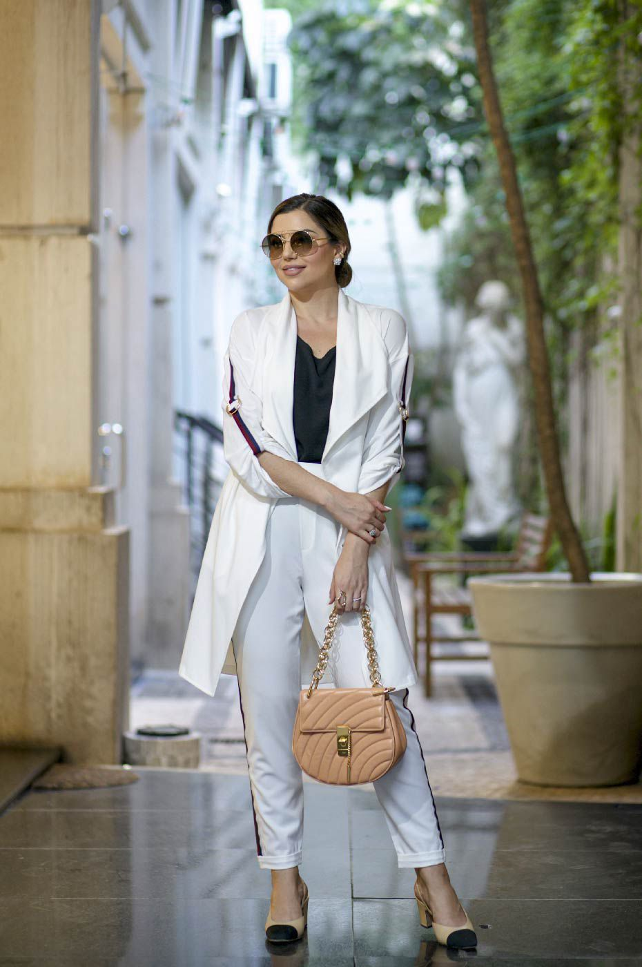 Trench Coat Alongado Manga 3/4 Alfaiataria Feminina Off White