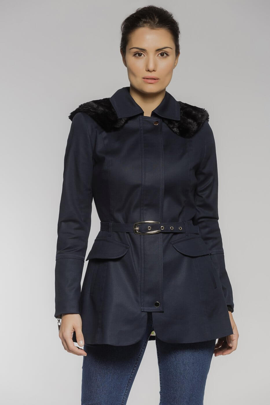 Trench Coat Sarja com Capuz Azul Marinho