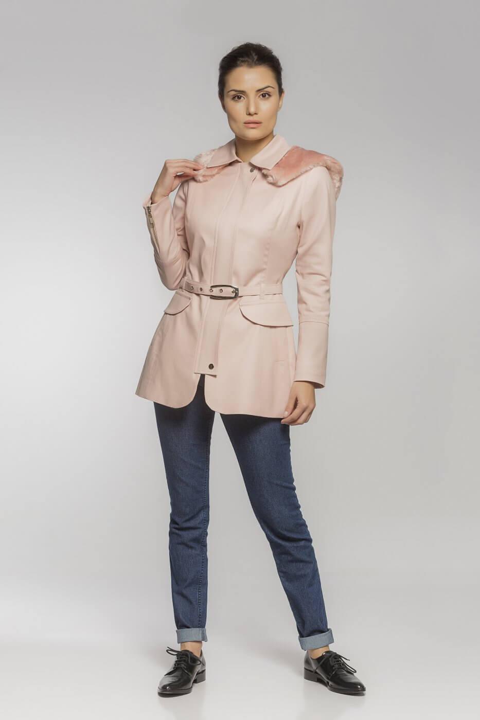 Trench Coat Sarja com Capuz Rosé