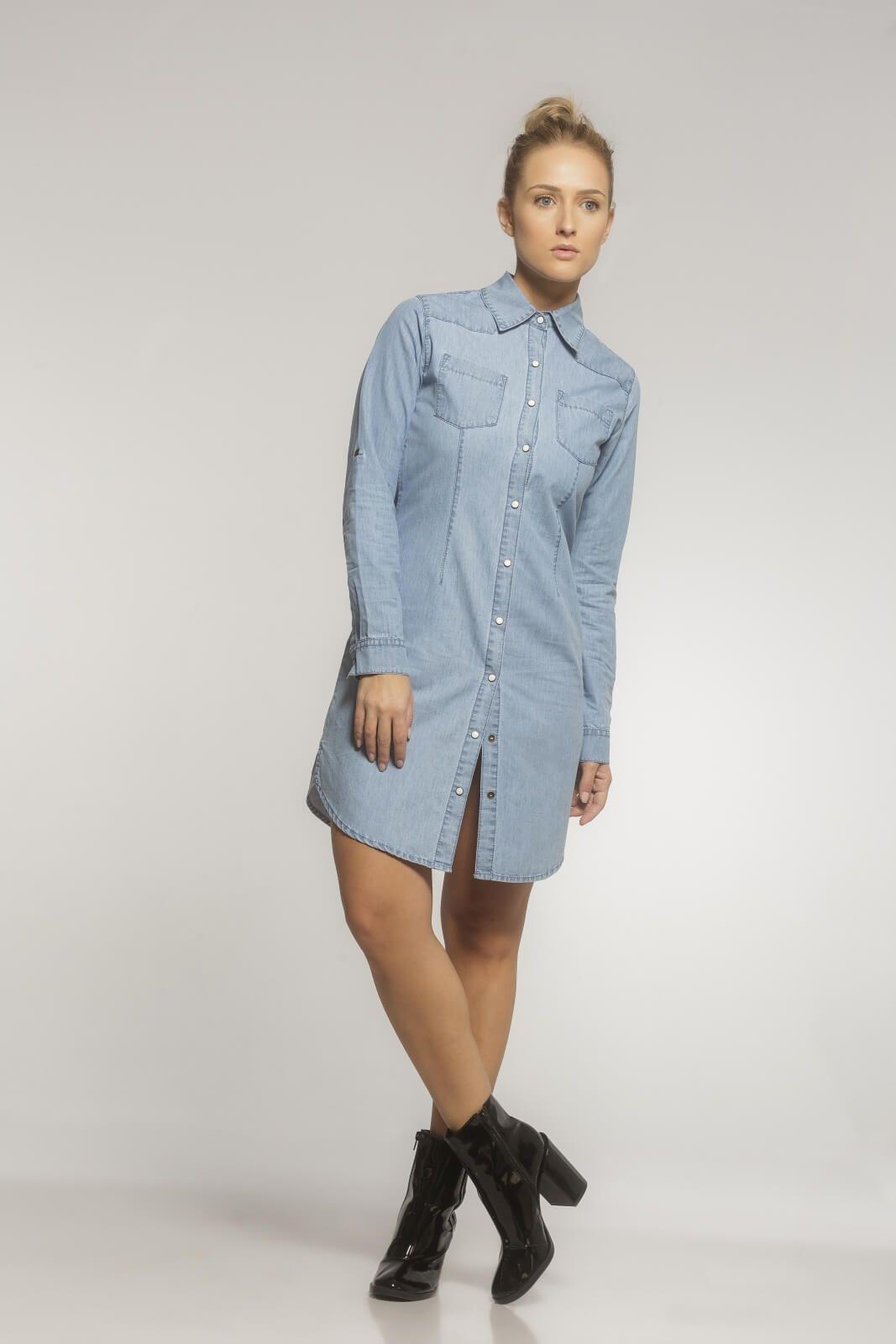 Vestido Camisa Chemise Jeans Azul