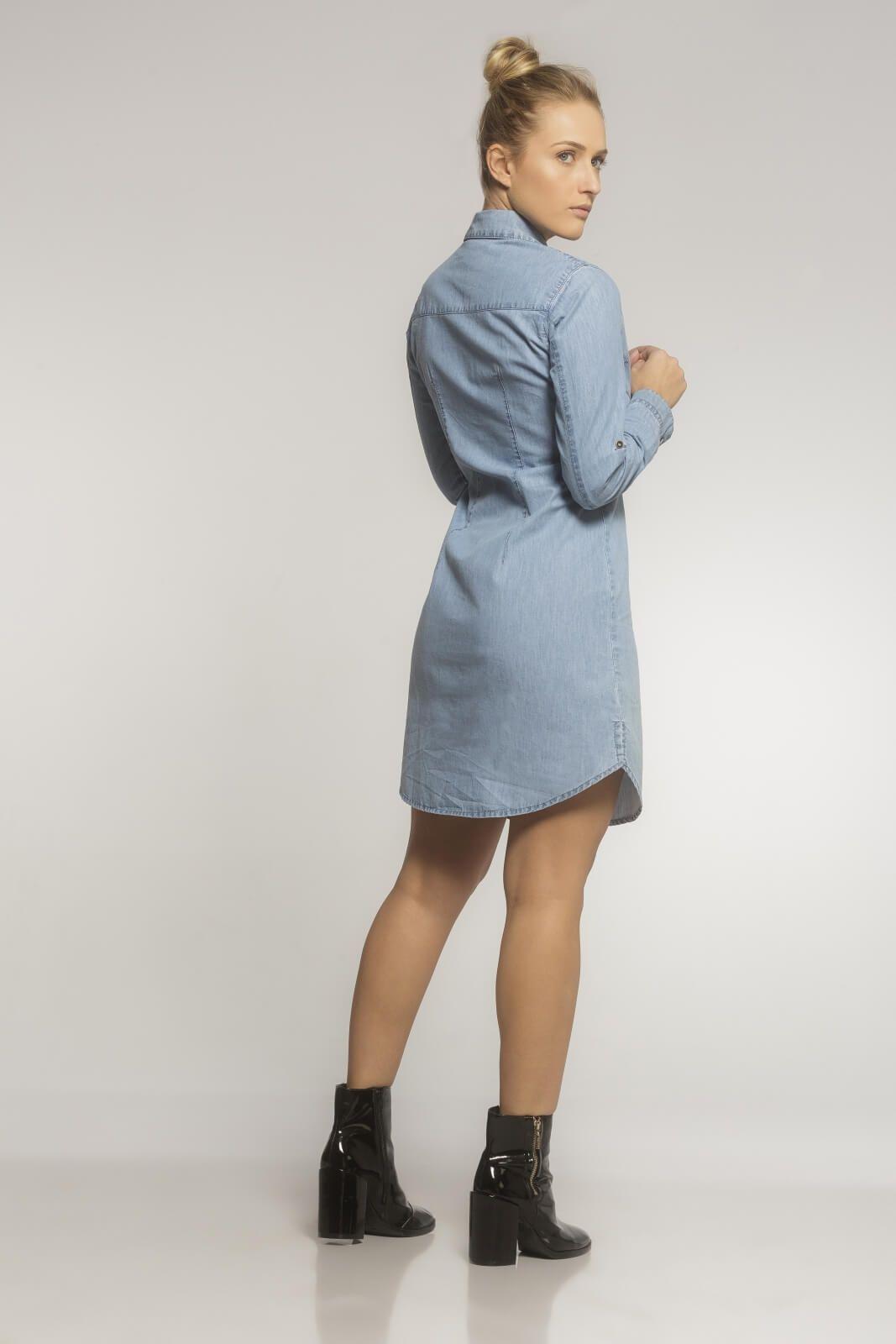 Vestido Chemisier Jeans Azul Claro
