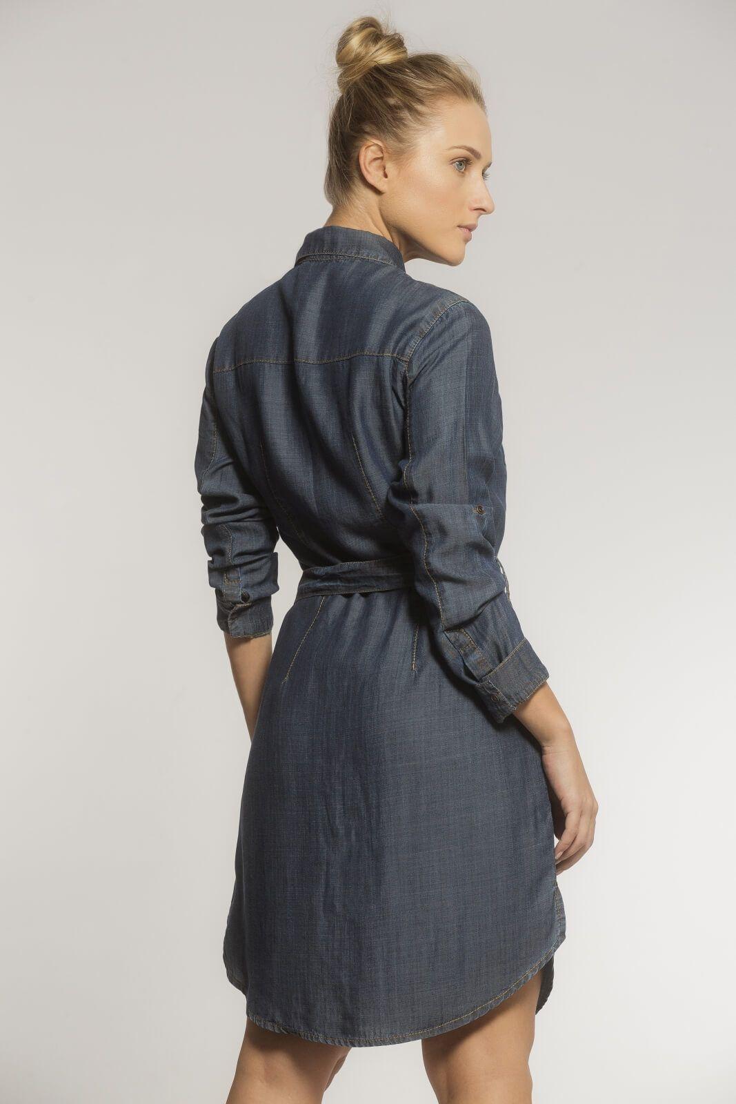 Vestido Chemise Liocel Azul Escuro