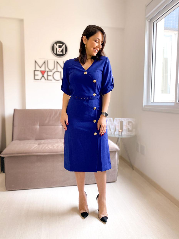 Vestido Midi com Botões Alfaiataria Azul