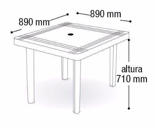 Mesa Plástica Quadrada Desmontável Preta Com Decoração 89cm