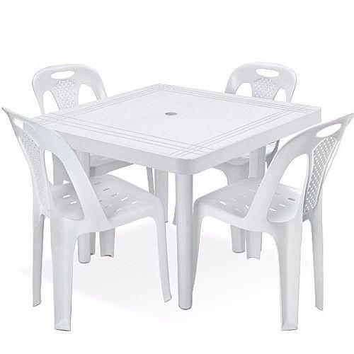 Kit 2 Mesas Plástica Grande Quadrada Desmontável Branca 89cm
