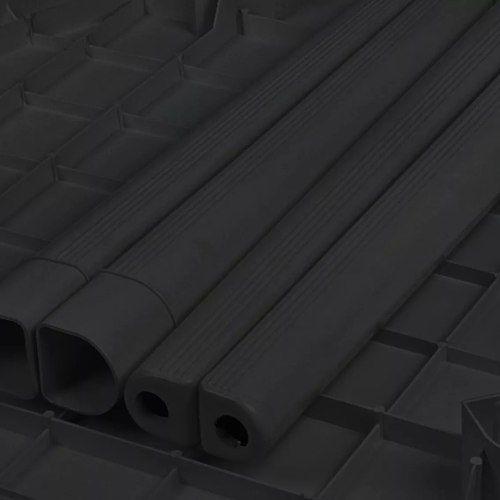 Kit 2 Mesas Plástica Grande Quadrada Desmontável Preta 89cm
