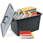 Porta Livros Organizador Empilhável 30 Litros C/ Rodas - Arqplast