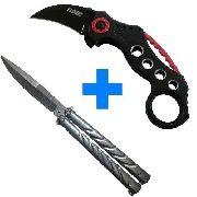 Kit Auto Defesa Canivete Karambit + Canivete Butterfly Prata