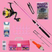 Kit de Pesca Dia das Mães - Vara, Molinete, Linha e Acessórios