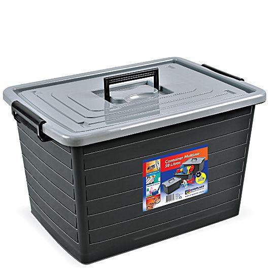 Caixa Container Organizador Multiuso 50 Litros Com Rodinha