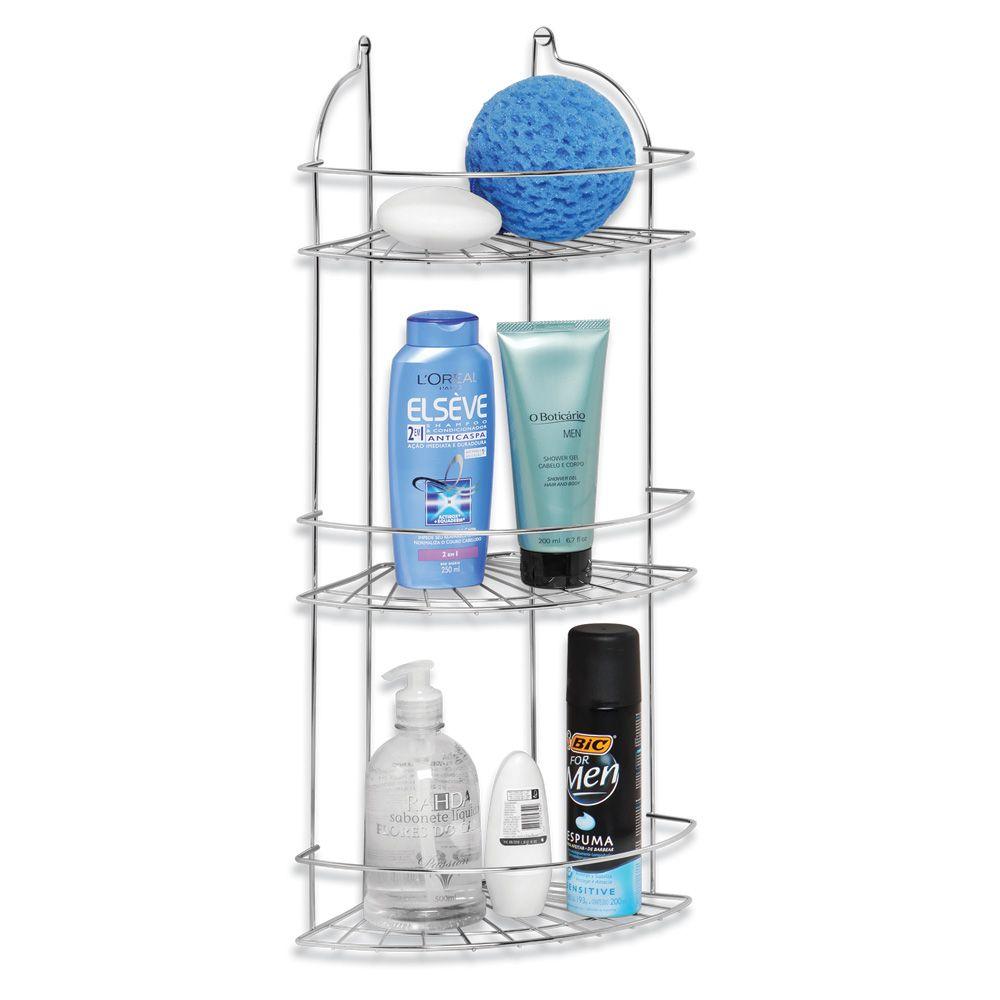 Porta Shampoo Cantoneira Triplo em Aço Cromado