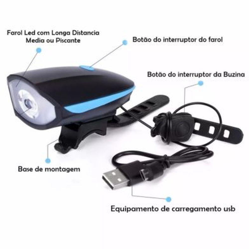 Lanterna Farol Bike Led Recarregável Usb Com Buzina 140 Db