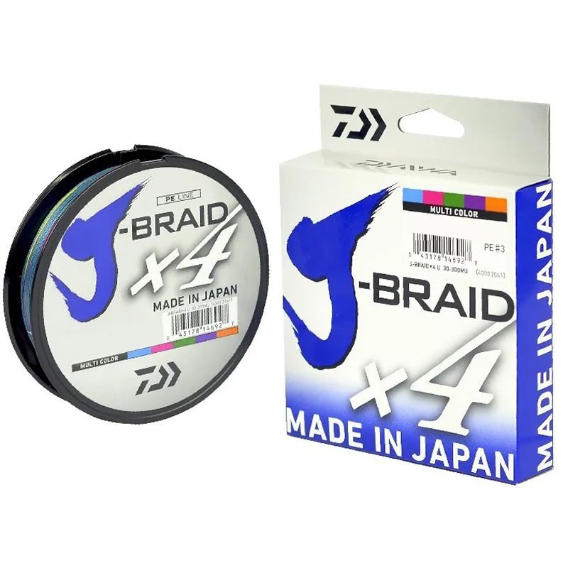 Linha Multifilamento Daiwa J-braid X4 Multicolor 300 Metros