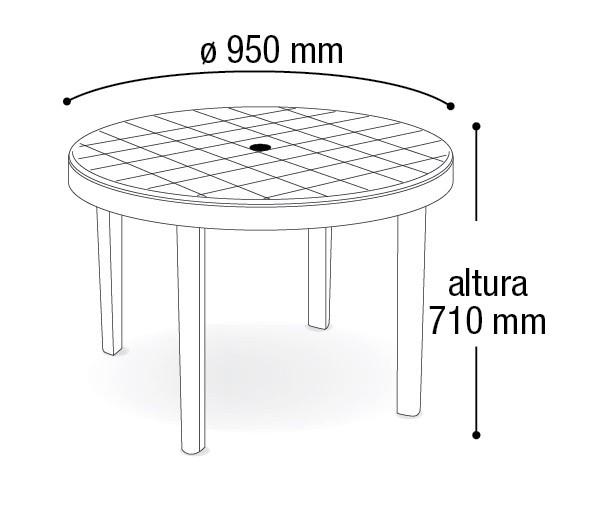 Mesa Plástica Redonda Desmontável Branca 95cm