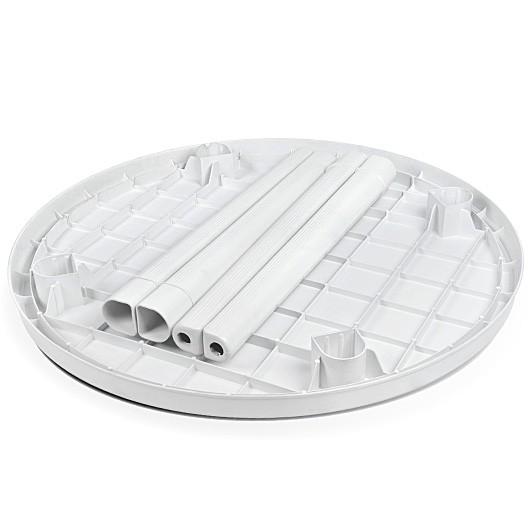 Mesa Plástica Redonda Desmontável Branca C/ Label 95cm