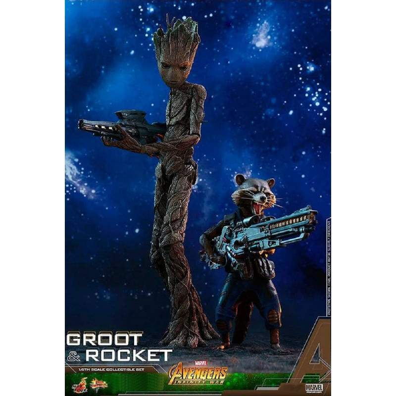 Groot & Rocket MMS 476 - Hot Toys Marvel Avengers Infinity War - Escala 1/6