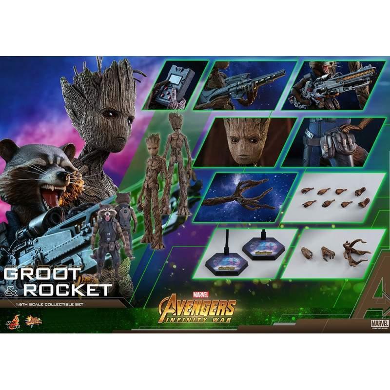 Groot & Rocket MMS 476 - Hot Toys Marvel Avengers Infinity War - Escala 1/6