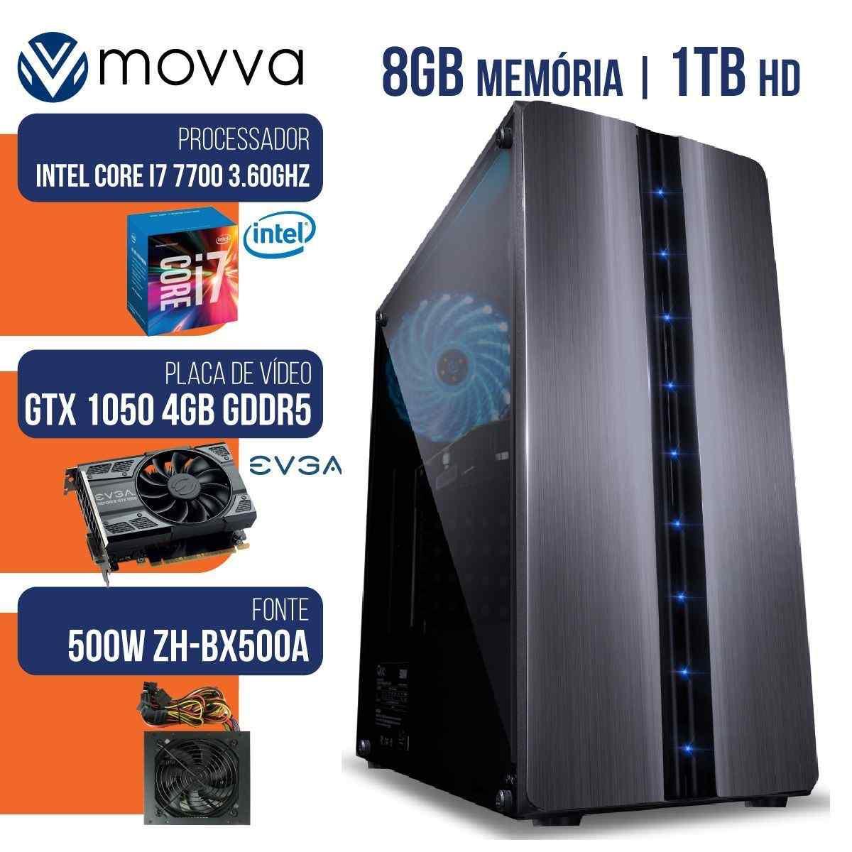 COMPUTADOR GAMER MVX7 INTEL I7 7700 3.6GHZ MEM 8GB HD 1TB HDMI VGA GTX 1050 TI 4GB DDR5 128BITS FONTE 500W LINUX