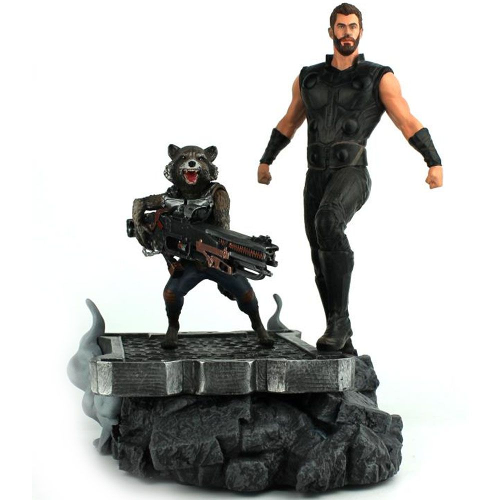 Thor e Rocket Raccoon Avengers Guerra Infinita - Marvel Premier Collection - Diamond Select