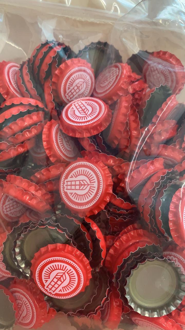 Tampinha Acerva Catarinense (Pacote 35 un.) - Rolha Metálica Vermelha Pry-Off 26mm