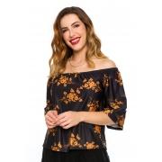 Blusa Ciganinha Estampado Floral Caramelo