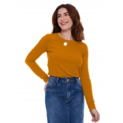 Blusa Gola Careca Canelada Amarela