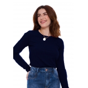 Blusa Gola Careca Canelada Azul Marinho