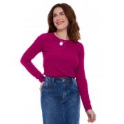 Blusa Gola Careca Canelada Púrpura