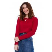Blusa Gola Careca Canelada Vermelha