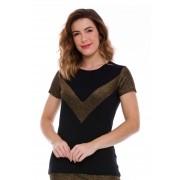 Blusa Preta Com Recorte Lurex Dourado