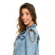 Jaqueta Jeans Clara Customizada Ombreira