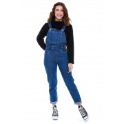 Jardineira Macacão Jeans com Bolsos