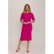 Vestido Canelado Com Franzido no decote Pink
