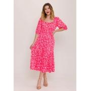 Vestido Princesa Midi Estampado Floral Rosa