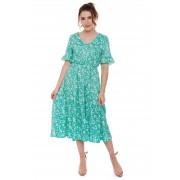 Vestido Midi Babados Floral Verde